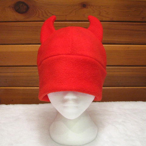 Red,Devil,Hat,-,Fleece,Horn,Beanie,Accessories,devil_hat,demon_hat,womens,teens,red,fleece_hat,winter_hat,rave_hat,halloween,devil,horns,geekery,mens_hat,fleece