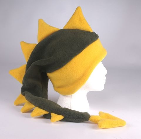 Fleece,Dragon,Hat,-,Dark,Green,/,Yellow,Gold,Geekery,Accessory,green,yellow,dragon,dinosaur,mohawk,spike,winter,dinosaur_hat,rave_hat,dragon_hat,fun_hat,mens_hat,childrens_hat,fleece