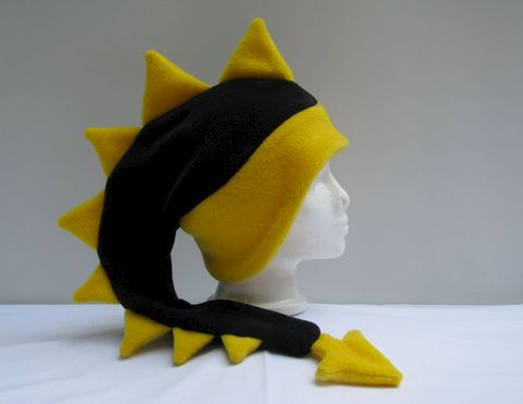 Fleece,Dragon,Hat,-,Black,/,Yellow,Accessories,Animal,black,yellow,dragon,dinosaur,winter,ear_flap,dragon_hat,dinosaur_hat,rave_hat,animal_hats,mens_hat,womens_hat,boys_hat,fleece