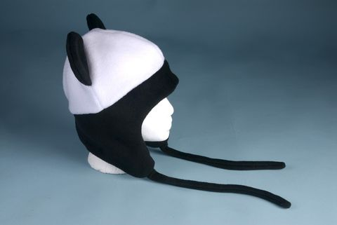 Fleece,Panda,Bear,Hat,-,Animal,Ear,Flap,Aviator,Style,Black,/,White,Accessories,ear_flap,panda_bear,kawaii,winter,cosplay,men,women,rave_hat,panda_hat,bear_hat,panda_bear_hat,hat_with_ties,fleece