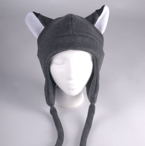 Fleece,Fox,Hat,-,Gray,Aviator,Style,Ears,Accessories,Ear_Flap,snow,fox,kitsune,goth,anime,gray,grey,cosplay_hat,teen_hat,womens_hat,mens_hat,animal_hat,fox_ears,fleece