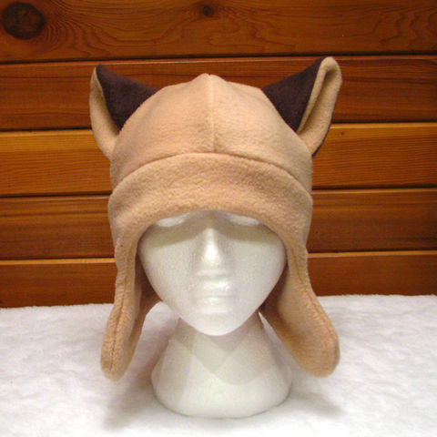 Animal,Ear,Hat,Siamese,Cat,-,Light,Brown,Fleece,Flap,Accessories,animal_hat,cat_hat,siamese_cat,cat_ears,fleece_hat,mens_hat,womens_hat,teen_hat,brown,beige,winter,rave_hat,fleece