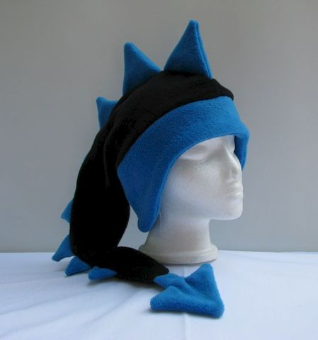 Fleece,Dragon,Hat,-,Black,/,Peacock,Blue,Accessories,Animal,black,blue,ear_flap,mohawk,anime,spike,cosplay,mens_hat,womens_hat,boys_hat,winter_hat,dragon_hat,dinosaur_hat,fleece