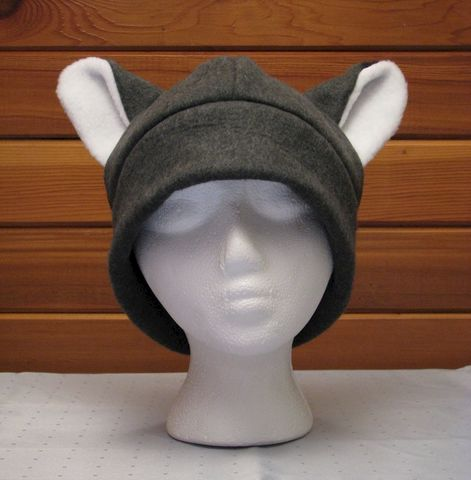 Fox,Hat,-,Gray,Fleece,Mens,Womens,Ear,Accessories,Animal,fox,cosplay,anime,ski,snowboarding,gray_grey,skullcap,beanie,snow,anime_hat,mens_hat,womens_hat,winter_hat,fleece