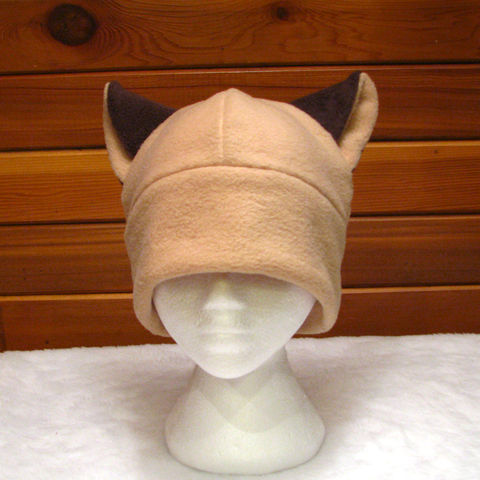 Brown,Siamese,Cat,Hat,ningen,Accessories,Animal,kitty_hat,kitty_cat,cat_ears,siamese_cat,brown,beige_hat,fleece_hat,winter_hat,animal_hat,womens_hat,girls_hat,neko_hat,cute_hat,fleece