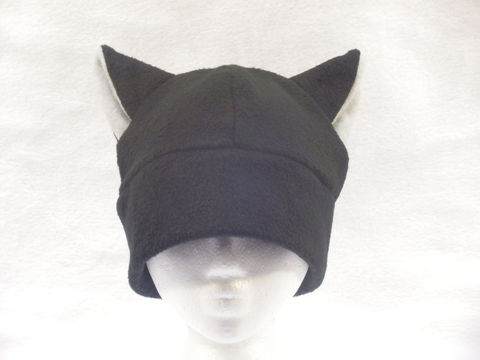 Black/Silver,Cat,Hat,ningen,Accessories,Animal,cat_hat,cat_ears,cat_ear_hat,kitty_hat,mens_hat,womens_hat,winter_hat,neko_hat,cat_beanie,fleece_hat,teen_hat,childrens_hat,animal_hat,fleece