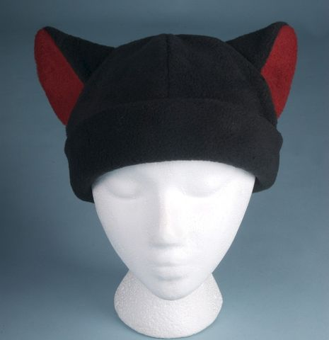 Black,/,Red,Fleece,Kitty,Cat,Hat,ningen,Accessories,Animal,red,black,cosplay,women,girls,devil,kitty_hat,cat_hat,cat_hat_black,cat_ear_hat,rave_hat,cat_ears,animal_ear_hat,fleece