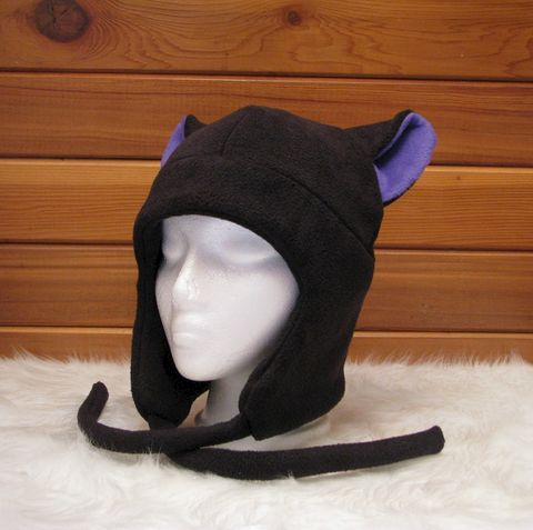 Fleece,Kitty,Cat,Hat,Black,/,Purple,Aviator,Earflap,Style,ningen,Accessories,Ear_Flap,black,kitty_cat,goth,rave,cosplay,snowboard,purple,neko_hat,womens_hat,mens_hat,ski_hat,winter_hat,cat_ear_hat,fleece