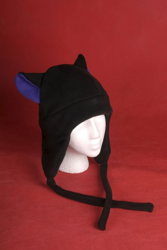 Fleece Kitty Cat Hat Black / Purple Aviator Earflap Style - product image