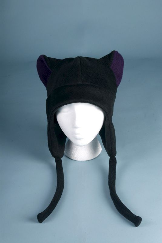 Fleece Hat Kitty Cat Ear Hat - Black / Aubergine Eggplant Purple - Aviator Style Earflap Hat - product image