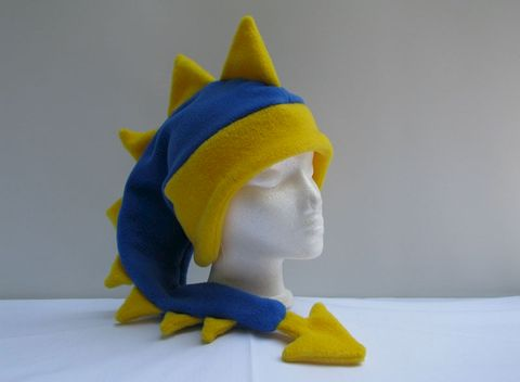 Royal,Blue,/,Yellow,Dragon,Hat,ningen,Accessories,Animal,men,children,royal_blue,dragon,dinosaur,lemon_yellow,dragon_hat,dinosaur_hat,animal_hat,monster_hat,costume,etk,winter_hat,fleece