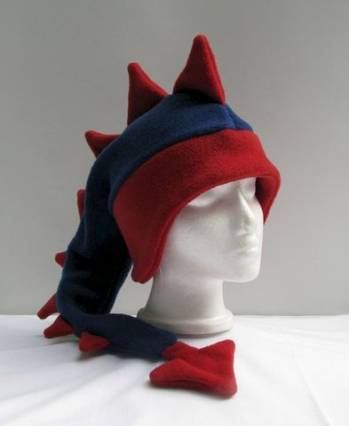 Denim,Blue,/,Red,Dragon,Hat,ningen,Accessories,Animal,blue,red,dragon,cosplay,ear_flap,dinosaur,mohawk,ski_hat,dinosaur_hat,snowboarding_hat,mens_hat,winter_hat,womens_hat,fleece