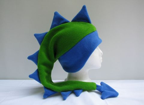 Lime,Green,/,Royal,Blue,Dragon,Hat,ningen,Accessories,Animal,ear_flap,dragon,mohawk,royal_blue,lime_green,kawaii,dinosaur_hat,dragon_hat,boys_hat,mens_hat,womens_hat,winter_hat,animal_hat,fleece
