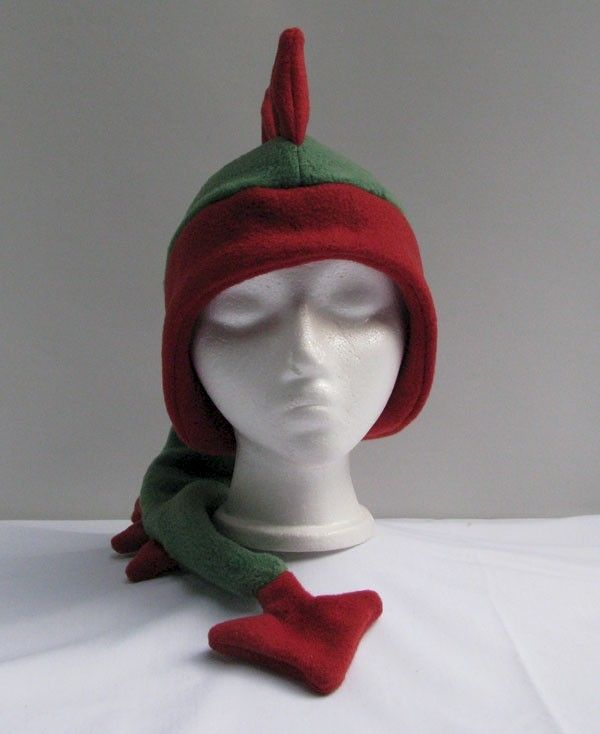 Green and Red Fleece Dragon Hat - product image