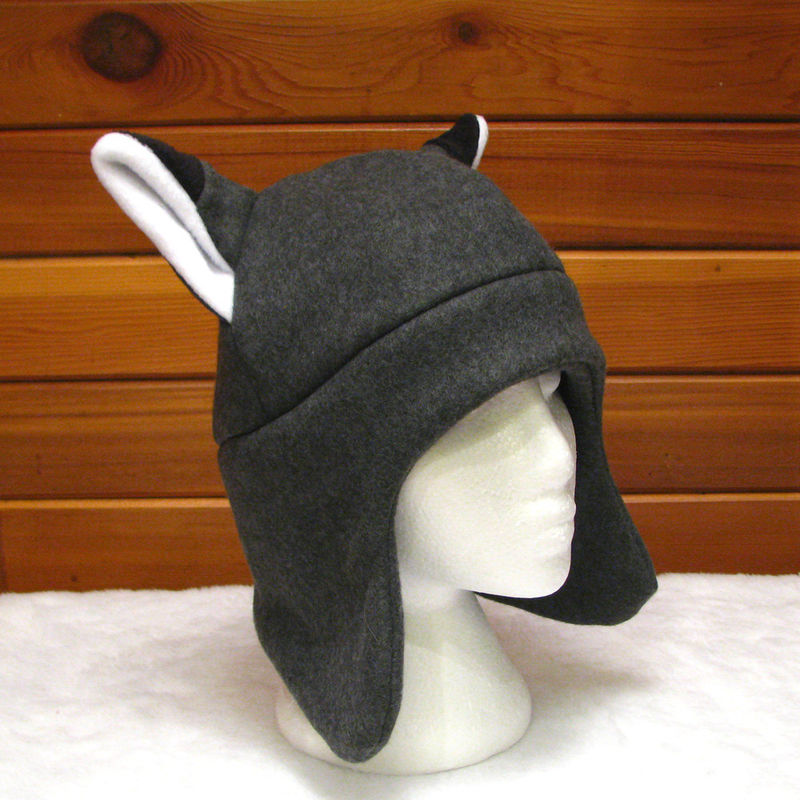 Gray Fleece Fox Ear Flap Hat - product image