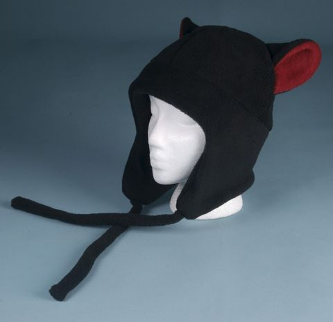 Fleece,Kitty,Cat,Hat,Black,/,Red,Aviator,Style,Accessories,Animal,red,black,goth,ear_flap,neko,kitty_ear,cat_ear,mens_hat,womens_hat,anime_hat,winter_hat,cat_ear_hat,halloween_hat,fleece,ningen