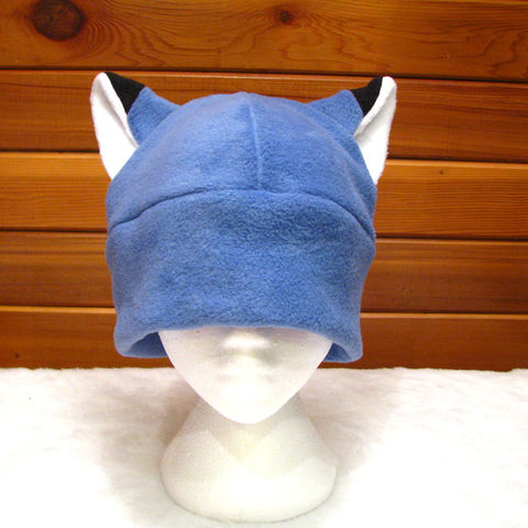 Slate,Blue,Fox,Ear,Hat,by,Ningen,Headwear,Accessories,Animal,fox_hat,fox_ears,rave_hat,winter_hat,slate_blue,beanie,anime,cosplay,mens_hat,womens_hat,teen_hat,fox_ear_hat,animal_hat,fleece