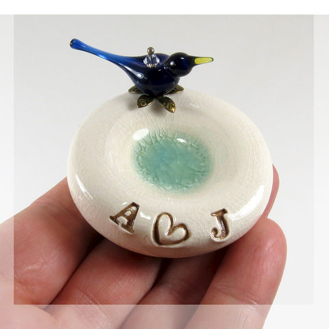 Tiny,blue,bird,personalized,engagement,ring,holder,blue bird personalized engagement ring holder, personalized engagement ring holder, blue bird engagement ring holder, bird engagement ring holder, bird ring holder