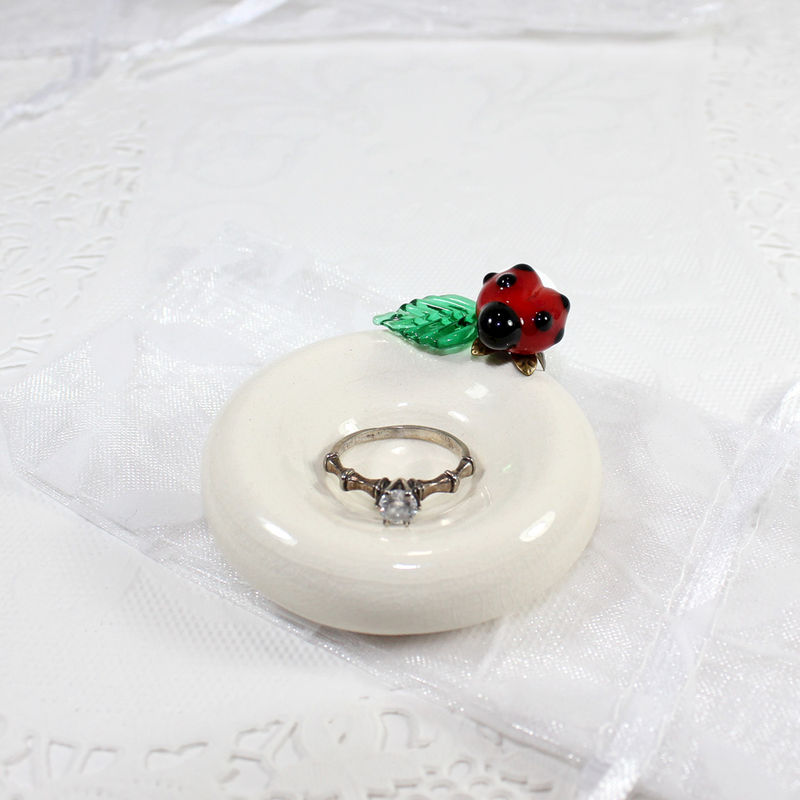 Ladybug engagement ring holder, newlywed gift - product images  of