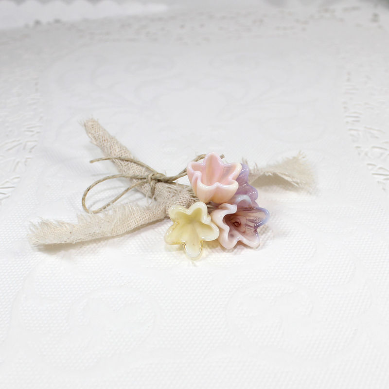 Fairy flowers rustic burlap Boutonniere, lapel corsage flower - product images  of