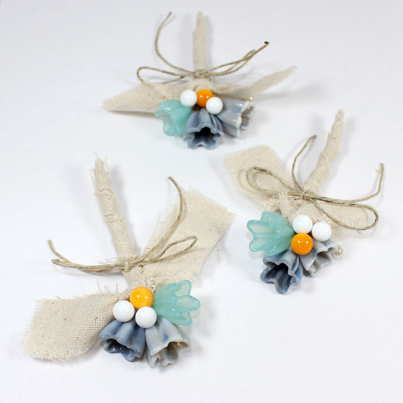 Beachy - Set of 3 Aqua blue and mustard yellow wedding Boutonnieres for groomsmen - product images  of
