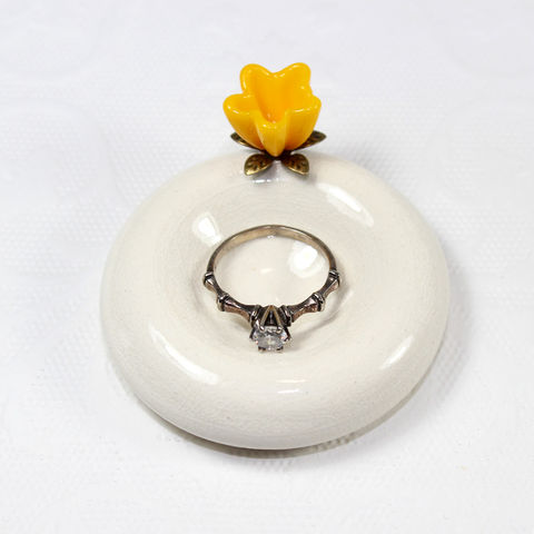 Yellow,flower,ceramic,wedding,ring,bowl,Yellow flower wedding ring holder, Yellow flower, wedding ring holder, flower wedding ring holder, Yellow wedding ring holder, Yellow flower wedding ring dish, Yellow flower wedding ring stand, flower wedding ring dish, Yellow flower ring holder