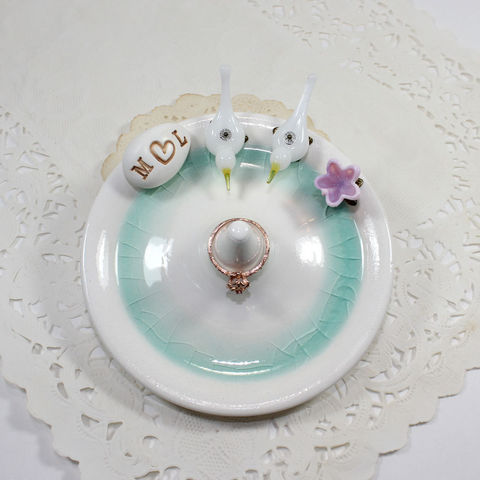 Doves,wedding,ring,holder,with,initials,and,flower,doves wedding ring holder, doves wedding ring stand, doves wedding ring dish, doves ring holder, doves engagment ring holder, dove love birds dish, dove wedding gift, dove engagement gift