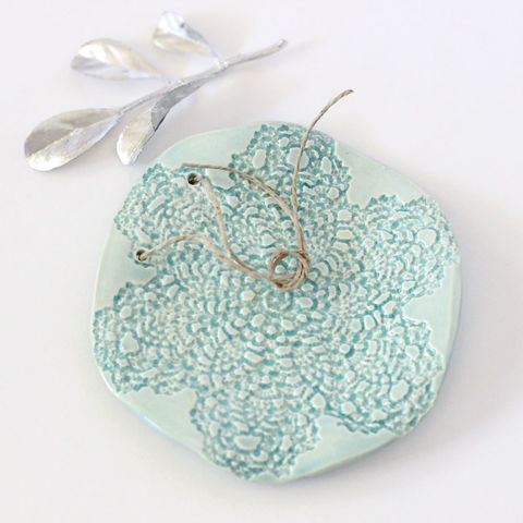 Aqua blue lace ceramic ring bearer dish, wedding ring pillow alternative - product images  of