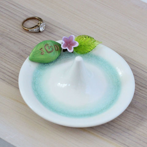 Monogrammed flower Wedding ring holder - product images  of