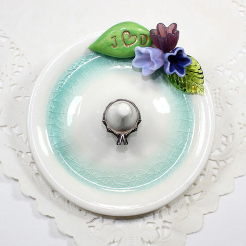 Flower,bouquet,personalized,engagement,ring,holder,with,initials,personalized engagement ring holder, personalized wedding ring holder, personalized ring holder, personalized engagement ring dish, personalized wedding ring dish, personalized ring dish, personalized engagement ring stand, personalized wedding ring stand