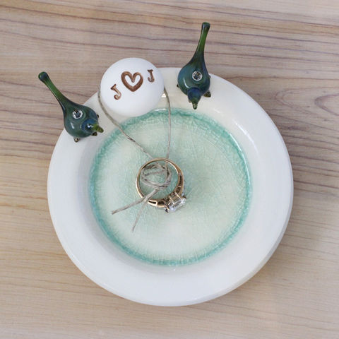 Personalized,love,birds,ring,bearer,dish,with,initials