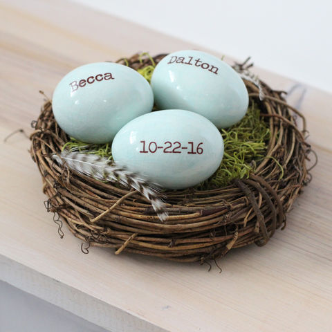 Personalized,eggs,in,birds,nest,with,names,and,dates