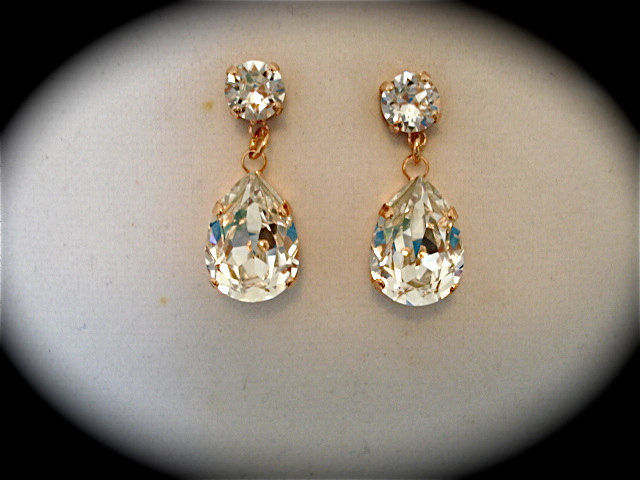 Rose Gold Crystal Teardrop Earrings Product Images Of