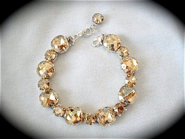 Golden Champagne Cushion Cut Bridal Bracelet Product Images Of