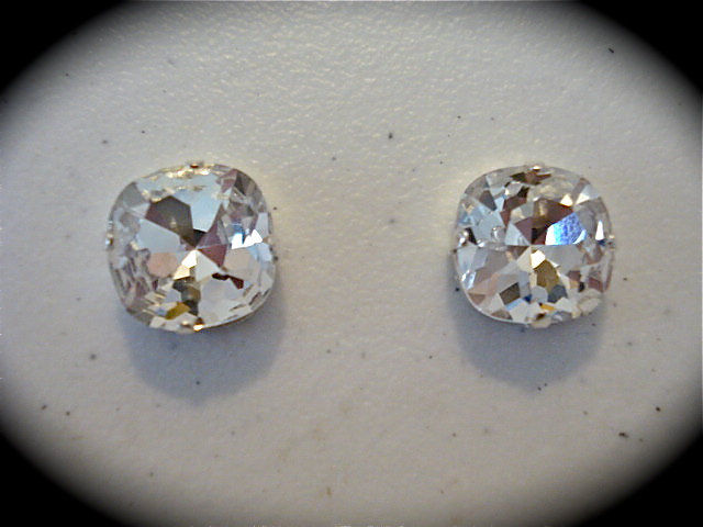 14mm Crystal Cushion Stud Earrings The Crystal Rose