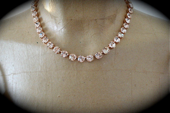 blush swarovski crystal rose gold princess length necklace. Black Bedroom Furniture Sets. Home Design Ideas