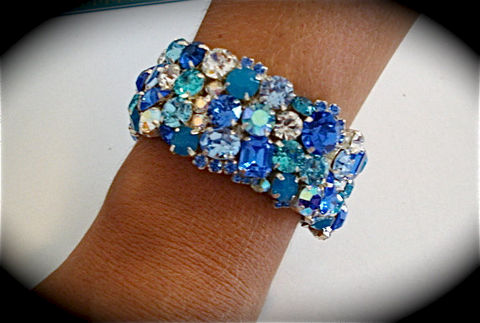 Tropical,Blue,Crystal,Cuff,Bracelet,Weddings,Jewelry,rhinestone_cuff,Crystal_cuff,wedding_cuff,wedding_bracelet,statement_cuff,chunky_cuff,Crystal_bracelet,Wide_bracelet,Bridal_cuff,Blue_bridal_cuff,Blue_bridal_bracelet,tropical_wedding,tropical_bracelet,swarovski crystal,sterling