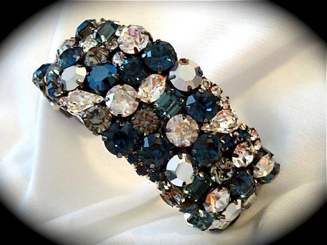 Dark Blue Bridal Cuff Bracelet Swarovski Rhinestone Cuff
