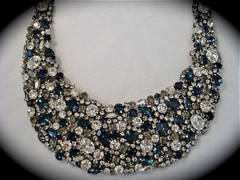 Midnight,Blue,Gunmetal,Statement,Necklace,Jewelry, Necklace, statement_necklace, bib_necklace, Bridal_necklace, wedding_jewelry, rhinestone_necklace, chunky_necklace, crystal_bib_necklace, Dark_blue_necklace, Midnight_blue, Black_tie_jewelry, Formal_bib_necklace, Gunmetal_necklace, Blue_necklace