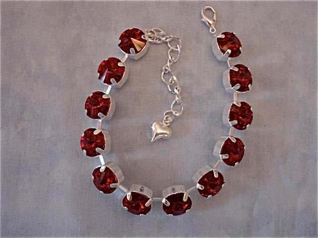 Chunky Red Crystal Bracelet 10mm Stones Product Images Of