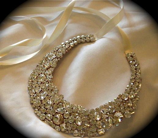 Chunky Clear Crystal Bridal Statement Necklace Swarovski