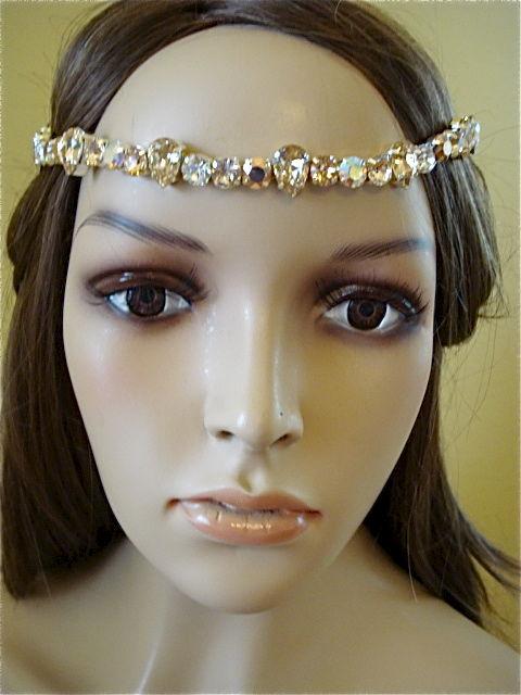 Rose Gold Crystal Bridal Brow Band