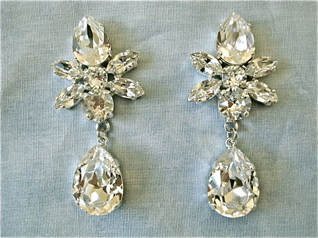 Swarovski Crystal Star Tear Drop Earrings The Crystal