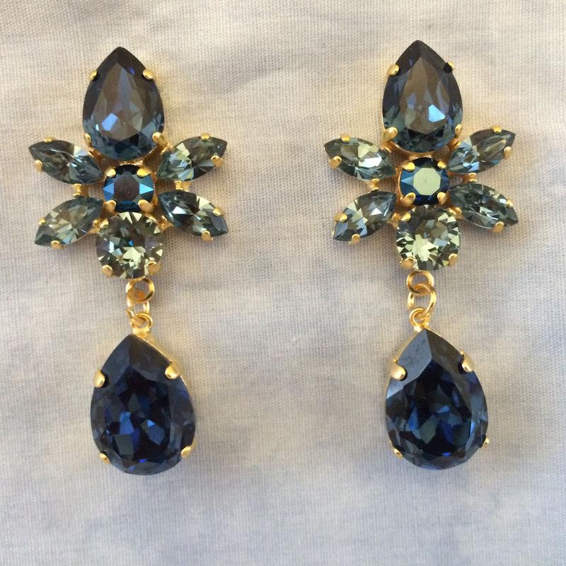 Swarovski Crystal Dark Blue Star Tear Drop Earrings Product Images Of