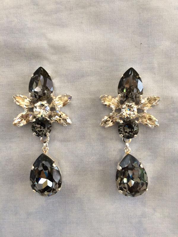 Swarovski Crystal Black Silver Star Tear Drop Earrings