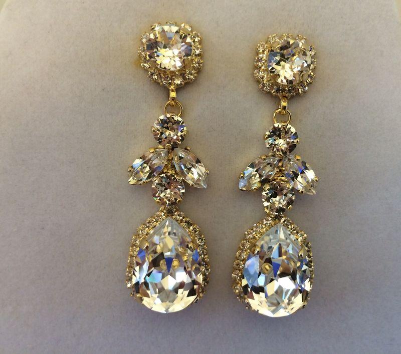 Swarovski Crystal Embellished Teardrop Dangle Earrings Images Of