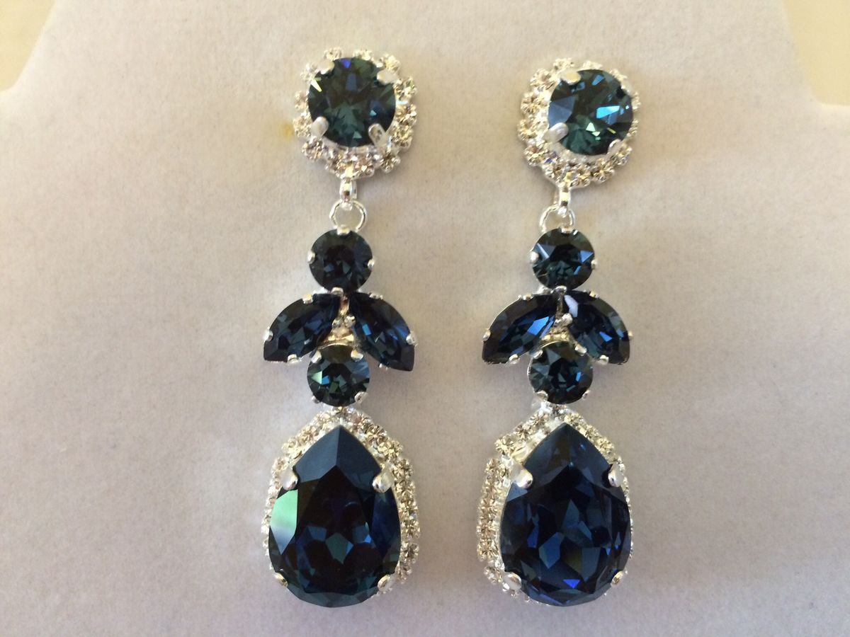 Navy Blue Swarovski Crystal Embellished Teardrop Dangle Earrings  The  Crystal Rose Bridal Jewelry And Accessories