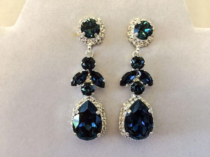 Navy Blue Swarovski Crystal Embellished Teardrop Dangle Earrings Product Images Of