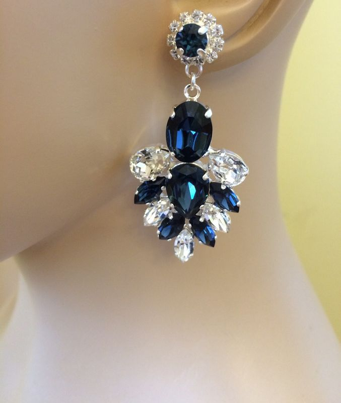 Navy Blue Swarovski Crystal Statement Dangle Earrings Product Images Of