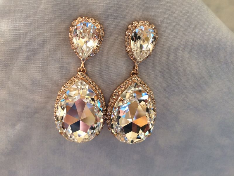 Swarovski Women Gold Glass Earrings RXi0jd7vh